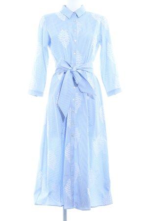Zara Woman Robe chemise bleu azur-blanc cassé motif floral style classique