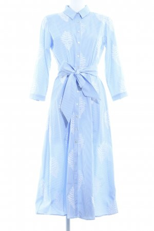 Zara Woman Hemdblusenkleid himmelblau-wollweiß florales Muster klassischer Stil