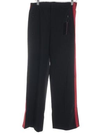 Zara Woman High-Waist Hose schwarz-rot Casual-Look