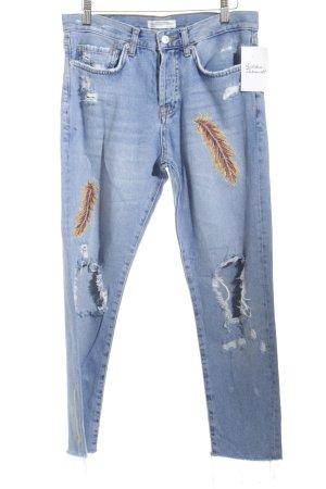 Zara Woman High Waist Jeans mehrfarbig Destroy-Optik