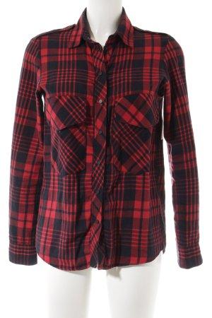 Zara Woman Houthakkershemd donkerblauw-rood geruite print boyfriend stijl