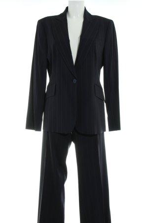 Zara Woman Traje de pantalón azul oscuro-amarillo claro estampado a rayas
