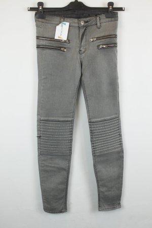 Zara Woman Jeans de moto argenté-noir coton