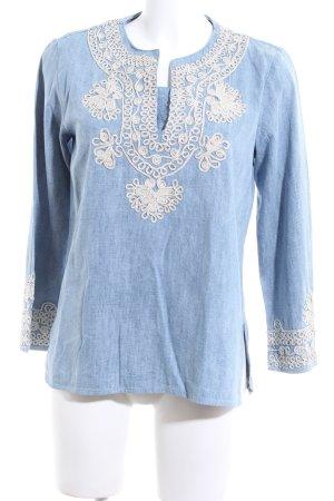 Zara Woman Jeansbluse blau-wollweiß Blumenmuster Casual-Look