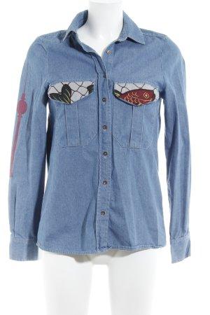 Zara Woman Camicia denim blu acciaio-carminio stampa stile da moda di strada