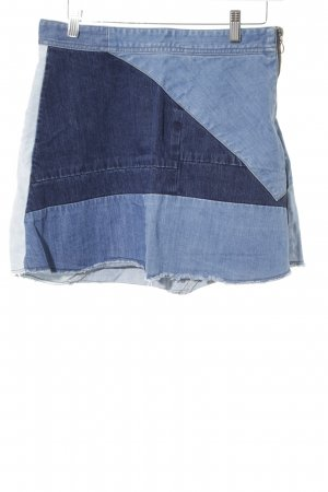 Zara Woman Jeansrock mehrfarbig Patchwork-Optik