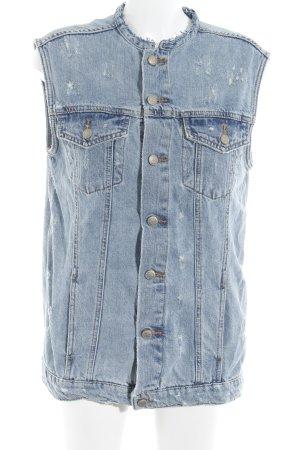 Zara Woman Jeansweste stahlblau-blau College-Look