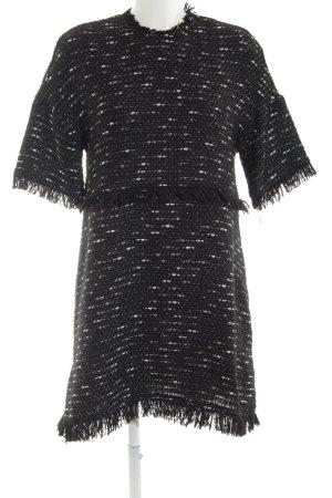 Zara Woman Jerseykleid schwarz-weiß meliert Casual-Look