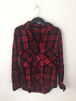 Zara Woman Camisa de leñador negro-carmín Algodón