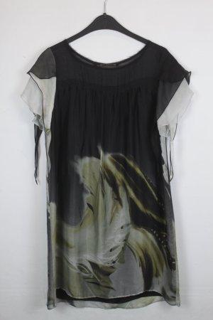 Zara Woman Kleid Seidenkleid Gr. S schwarz/weiß  Feder Print transparent (18/3/152)