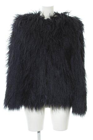 Zara Woman Veste en fausse fourrure bleu foncé style extravagant