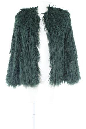 Zara Woman Kunstfelljacke dunkelgrün extravaganter Stil