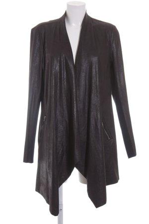 Zara Woman Kunstlederjacke schwarz Materialmix-Look