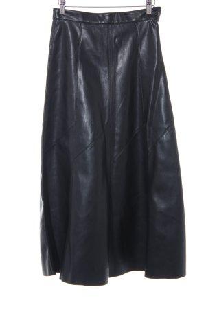 Zara Woman Falda de cuero de imitación negro look casual