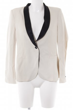 Zara Woman Kurz-Blazer creme-schwarz Business-Look