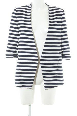 Zara Woman Kurz-Blazer weiß-dunkelblau Streifenmuster Marine-Look