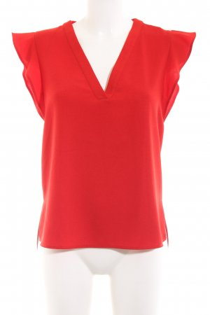 Zara Woman Kurzarm-Bluse rot Business-Look