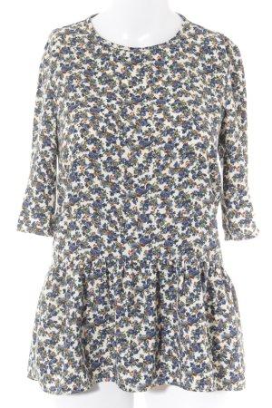 Zara Woman Short Sleeved Blouse flower pattern retro look