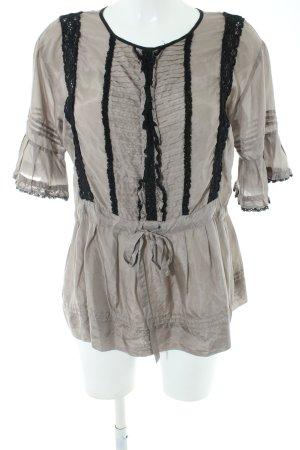 Zara Woman Kurzarm-Bluse hellgrau-schwarz Vintage-Look