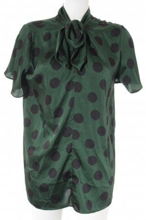 Zara Woman Kurzarm-Bluse dunkelgrün-schwarz Punktemuster Elegant