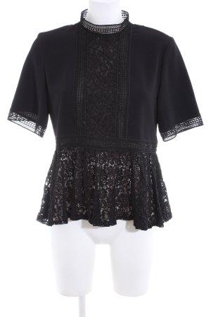 Zara Woman Kurzarm-Bluse schwarz Elegant