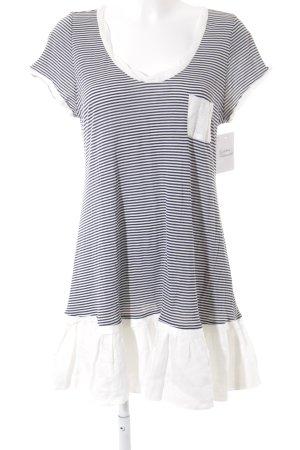 Zara Woman Kurzarm-Bluse weiß-dunkelblau Streifenmuster Casual-Look