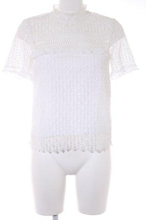 Zara Woman Blouse à manches courtes blanc style extravagant