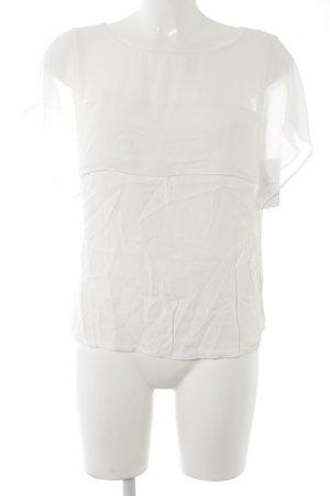 Zara Woman Kurzarm-Bluse weiß Romantik-Look