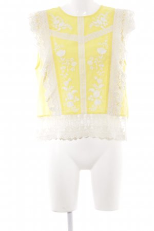 Zara Woman Kurzarm-Bluse wollweiß-blassgelb florales Muster Casual-Look
