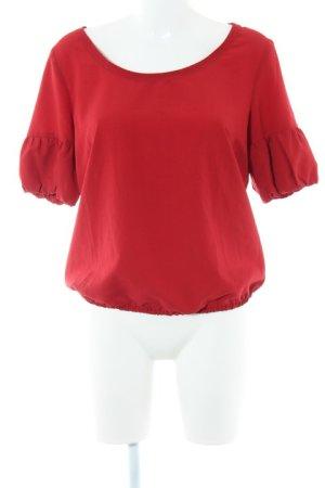 Zara Woman Kurzarm-Bluse ziegelrot Casual-Look