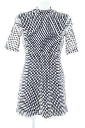 Zara Woman Kurzarmkleid dunkelblau-wollweiß Hahnentrittmuster Casual-Look
