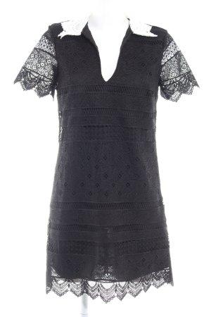 Zara Woman Kurzarmkleid schwarz-weiß Elegant