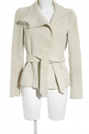 Zara Woman Kurzjacke creme Streifenmuster Business-Look