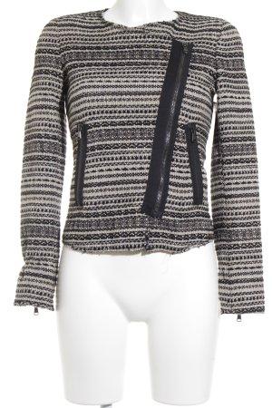 Zara Woman Kurzjacke schwarz-beige Streifenmuster Business-Look