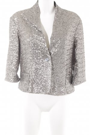 Zara Woman Kurzjacke silberfarben Metallic-Optik