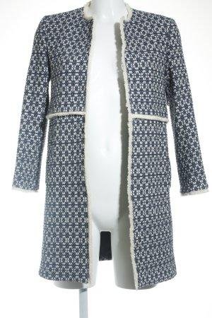 Zara Woman Kurzmantel blau-wollweiß meliert klassischer Stil