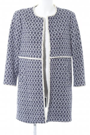 Zara Woman Short Coat dark blue-cream elegant