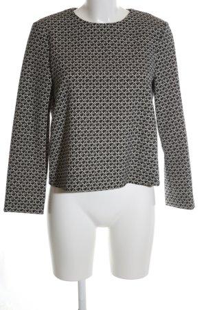 Zara Woman Langarm-Bluse schwarz-weiß Allover-Druck Elegant