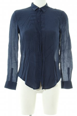 Zara Woman Langarm-Bluse blau Business-Look