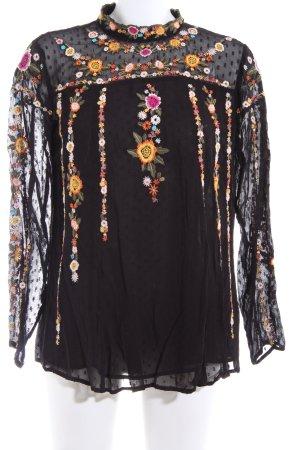 Zara Woman Langarm-Bluse schwarz-hellorange Blumenmuster Elegant