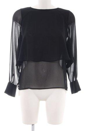 Zara Woman Langarm-Bluse schwarz Elegant