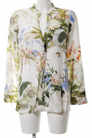 Zara Woman Langarm-Bluse wollweiß-grün Blumenmuster Casual-Look