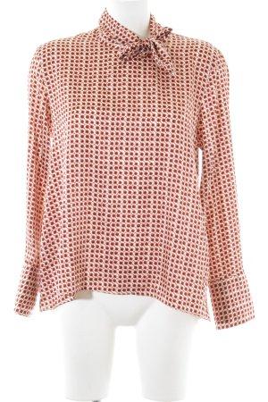 Zara Woman Langarm-Bluse braun-rot abstraktes Muster Business-Look