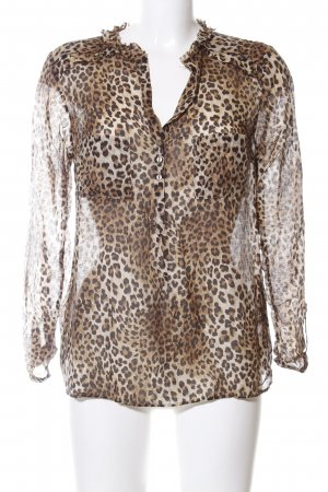 Zara Woman Langarm-Bluse braun-schwarz Allover-Druck Elegant