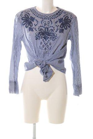 Zara Woman Langarm-Bluse weiß-blau Blumenmuster Casual-Look