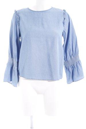 Zara Woman Langarm-Bluse blau Jeans-Optik