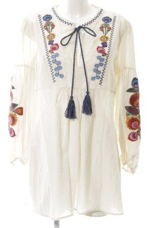 Zara Woman Langarm-Bluse wollweiß Blumenmuster Casual-Look