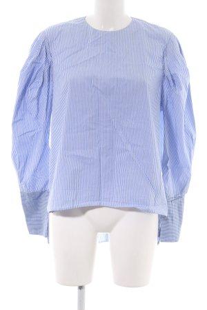 Zara Woman Langarm-Bluse blau-weiß Streifenmuster Casual-Look
