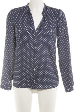 Zara Woman Langarm-Bluse dunkelblau-weiß Punktemuster Casual-Look