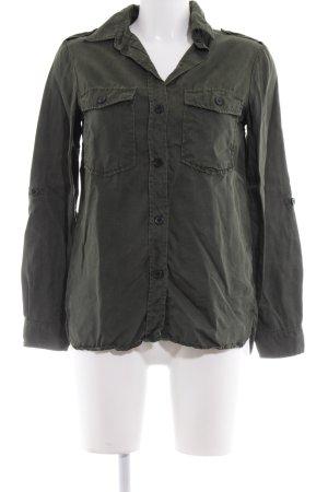 Zara Woman Langarm-Bluse dunkelgrün Casual-Look